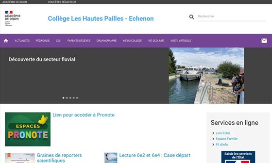 capture d'écran du site Collège Les Hautes Pailles - Échenon (21)