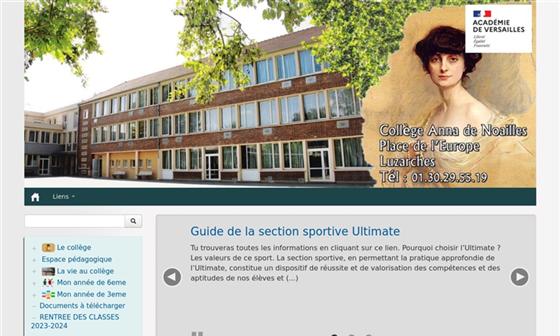 capture d'écran du site Collège Anna de Noailles - Luzarches (95)