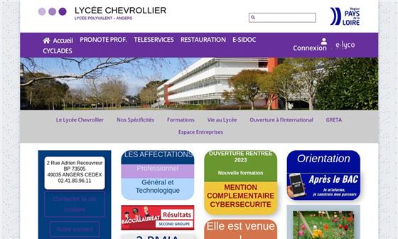 capture d'écran du site Lycée professionnel Chevrollier - Angers (49)