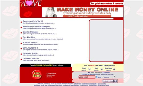 capture d'écran du site 123love - Comparateur de sites de rencontres